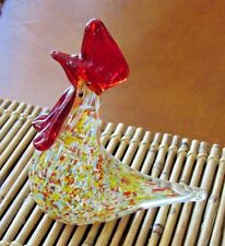 Glass Multi-colored Rooster Figurine  Red Comb Paper Weight