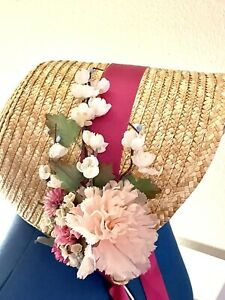 Ladies Straw Civil War Bonnet Pink Silk/Paper Flowers Reenactment Theater