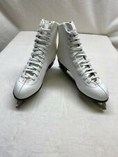 Womens White Figure Ice Skates Slm Blades Made In Canada Sz 10