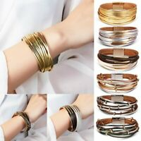 Fashion Women Multilayer Leather Magnet Wrap Cuff Bracelet Bangel Jewelry Gifts