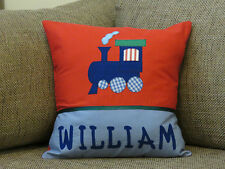 CHILD'S/BOYS PERSONALISED NAME CUSHION COVER/NURSERY/SHOWER/GIFT -- TRAIN  -