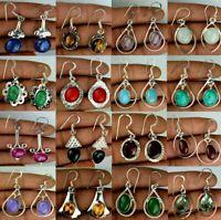 Rose Quartz & Mix Gemstone 925 sterling silver Plated Earrings Lot 5pcs EB-423