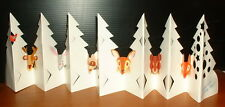 """2 VTG FOREST FULL OF ANIMALS 3D FOLD OUT 30"""" CHRISTMAS CARDS 1980s"""