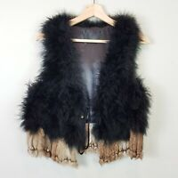 Genuine Fur | Womens Boho Festival Vest Jacket w/ Tassels [ S or AU 10 / US 6 ]