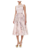 TED BAKER Faunia Floral Midi Chiffon Blush Wedding Occassion Dress Size 2 UK 10