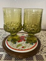 2 Tiffin Franciscan Madeira Olive Green Wine Juice Footed Glass Goblets Vintage