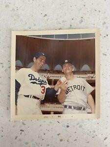 SANDY KOUFAX & DENNY MCLAIN 1966 ALL STAR GAME TYPE 1 SNAPSHOT BASEBALL PHOTO