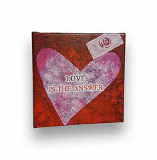 """Love Is The Answer, Positive Motivational Quote Artwork Typography Canvas, 6""""x6"""""""