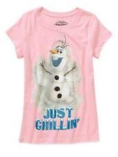 NWT Disney FROZEN Movie Olaf Anna Elsa Girls GLITTERED Pink Shirt 4/5  FREE SHIP