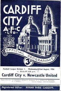 1956/7 CARDIFF CITY V NEWCASTLE UNITED