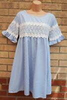APRICOT BLUE WHITE STRIPED LACE SMOCK POLYCOTTON BAGGY MINI SUMMER DRESS M