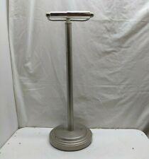 Pedestal Free Standing Chrome Metal Post Toilet Tissue Paper Holder Pewter Base