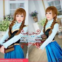 New Disney Movies Frozen Snow Queen Anna Brown Weave Ponytail Cosplay Anime Wig