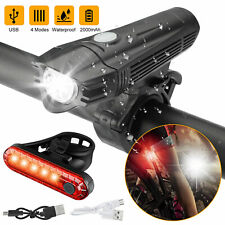 USB Rechargeable LED Bicycle Headlight Bike Head Light Front Rear Cycling Lamp