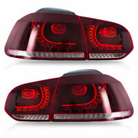 Fiber Optic RED CLEAR LED Taillights  for 10-13 VW GOLF 6 MK6 GTI 12-13 Golf R