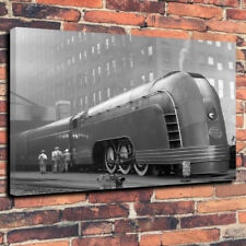 "Art Deco ""Mercury"" Steam Train Printed Canvas Picture A1.30""x20"" 30mm Deep NYC"
