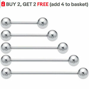 Tongue Bars Nipple Bar Ring Stud Surgical Steel Body Piercing Jewellery Silver