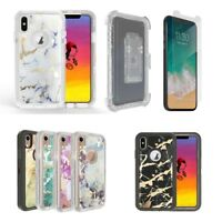 For Apple iPhone X XS Max XR Marble Defender Case Cover w/ Clip fits Otterbox