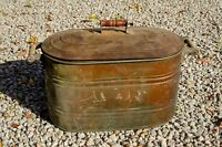 Antique Large Copper Boiler with Lid and Wooden Handles