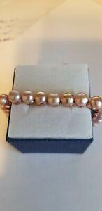 Freshwater Peach Pearl Bolo Bracelet in Rosetone Stainless Steel