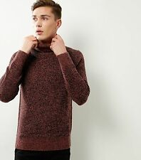 MENS' RUST BROWN SPECKLED RIBBED FUNNEL NECK JUMPER IN SIZES S TO XL BNWT