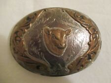 "Vtg COMSTOCK Silver BELT BUCKLE Cowboy Cowgirl COW Western 3 1/4"" Silversmith"