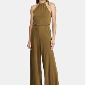 RALPH LAUREN $155 Womens New Green Halter Sleeveless Wide Leg Jumpsuit XLarge