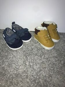 New Matalan Baby Boy Shows Size Age 0-3 Months Blue Loafers And Beige Boots