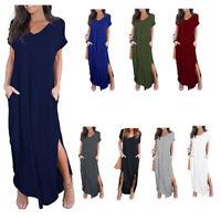 Women's Casual Short Sleeve V neck Oversized Pocket Split Loose Maxi Dresses