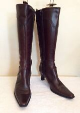TAMARIS BROWN LEATHER KNEE LENGTH BOOTS SIZE 3.5/36