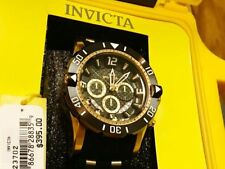 MENS Invicta PRO DIVER 23702 Watch Black Gold Dial Chrono Stainless Steel $395