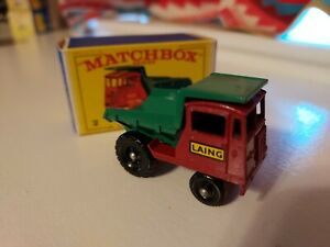 Vtg Matchbox Lesney #2 Muir Hill Dumper Dump Truck Laing Original Box
