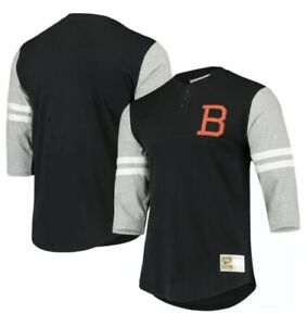 MITCHELL & NESS Baltimore Orioles Cooperstown 3/4 Sleeve Henley Shirt Sz Large