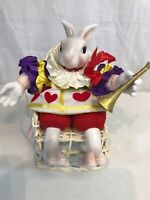 Fitz & Floyd Rare Vintage Fabric Ceramic Seated Bunny Rabbit Alice in Wonderland