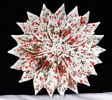 "Atlantic Mold 10"" Poinsettia Christmas Serving Bowl Candy Dish White Red Green"