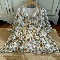 XL New Boho Floral Blouse Tunic Top 3/4 Sleeve Fall Dress Womens NWT X-LARGE