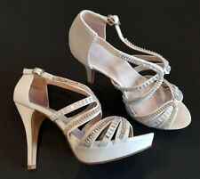 New Look size 7 (40) white satin diamante buckle strap platform bridal heels