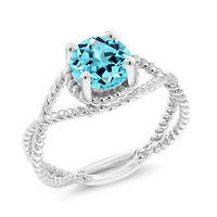1.65 Ct Round Swiss Blue Topaz 925 Sterling Silver Ring