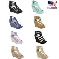 NEW Women Gladiator Wedge Strappy Sandal Open Toe High Heel Platform Party Shoes