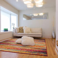 Abstract Lines Stripes Contemporary Area Rug Multi-Color Floor Décor Carpet