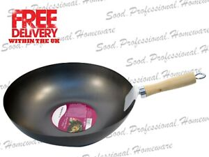 25cm Prima Non-Stick Cooking Wok Wooden Handle Carbon Steel Chinese