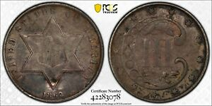 1862 3CS Three Cent Piece Silver PCGS VF Detail Damage