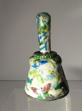 Antique Vintage Chinese Enamel Bell Floral Butterfiles Silverplate