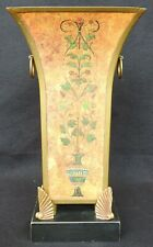 "Tall Toleware Metal Vase with Vine Artwork 13"" Item # 70834"