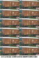 12 yes twelve G SCALE 45mm GAUGE RAILWAY BOX CAR BROWN CARGO BOXCAR GARDEN TRAIN