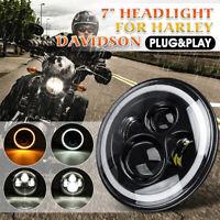 complet 7'' Halo Angle Eyes Projecteur LED Phare Brouillard pour Harley Davidson