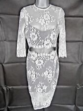 Black and White Lace Pencil Wiggle Dress Size 10 Cut Out Mesh Waistline Holiday