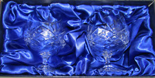 Pair of 24% Lead Crystal Brandy Glasses in Silk Lined Presentation Box