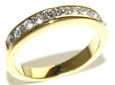 FREE ENGRAVING! Heavily Gold Electroplated Half Eternity Simulated Diamonds Band