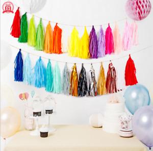 15PCS DIY Tissue Tassels Paper Garland Bunting Birthday Party Balloon Decor UK